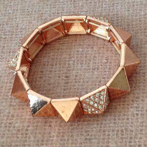 Rose Gold Spiky Bracelet with Faux Gemstones